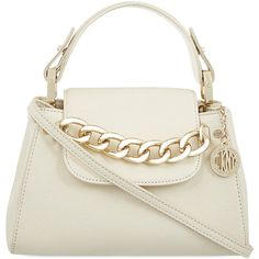 DKNY Chelsea top handle cross-body bag (£190) ❤ liked on Polyvore featuring bags, handbags, shoulder bags, purses, bolsa, accessories, cream, leather shoulder handbags, white purse and chain shoulder bag