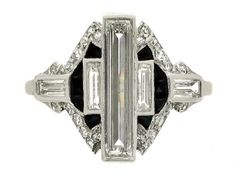 Art Deco diamond & onyx ring, ca 1925.