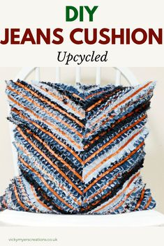 Learn how to make your own denim rag cushion - chevron cushion cover pattern. Upcycle your jeans by sewing up your own cushion cover with a zip closure Diy Cushion Covers, Cushion Cover Pattern, Recycled Denim, Recycled Fabric, Chevron, Sewing Hacks, Sewing Tutorials, Sewing Tips, Sewing Ideas