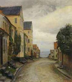 Peter Tom-Petersen (1861-1926): Street in Aeroskobing, sea in background, 1917