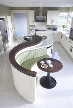 Creative Wood Kitchen Design, All ireland Kitchen Guide, Curved island,Island seating area