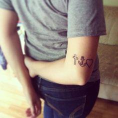 faith hope love small cute tattoo #cross #anchor #heart