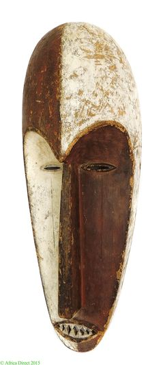 Fang Mask Ngil Society White and Red Face Gabon Africa - Fang - African Masks