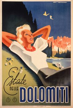 vintage Italian travel / tourism advertising art poster for Dolomiti in Italy in 1936