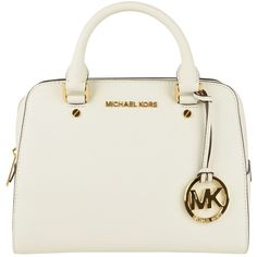 MICHAEL MICHAEL KORS Small Jet Set Travel Satchel ($365) ❤ liked on Polyvore featuring bags, handbags, purses, bolsas, white, leather satchel, leather travel purse, leather satchel handbags, genuine leather handbags and travel purse