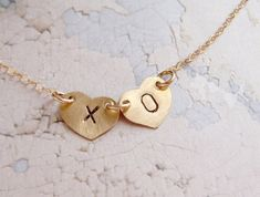 XOXO kiss hugs necklace personalized initial heart by soradesigns