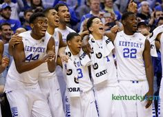From left, Kentucky players Dakari Johnson, Karl-Anthony Towns, Willie Cauley-Stein,Tyler Ulis, Booker and Alex Poythress enjoyed the final minute as Kentucky defeated No. 5 Kansas, 72-40, on Nov. 18. PHOTO BY MARK CORNELISON | STAFF — Herald-Leader  Read more here: http://www.kentucky.com/2015/03/10/3734412/kentuckys-devin-booker-season.html#storylink=cpy