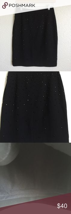 • pencil skirt • Waist measures approximately 14 inches length is 20 inches. None of the beads are missing and beads are only in the front. Beautiful piece, in excellent condition. Has liner and zipper on the middle back.  Carmen Marc Valvo Skirts Pencil