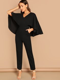 3f9ca502b5 V-Neck Solid Cape Jumpsuit -SheIn(Sheinside) Fancy Casual Outfits