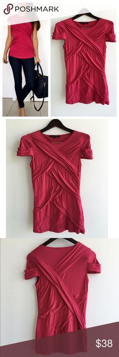 """NWT  Cynthia Steffe Pink Top  NWT  Cynthia Steffe Pink Top! New with tags. This top look perfect with jeans or shorts! Beautiful deep pink color. Fits super comfortable, soft and stretchy. Pull over style. 96% Rayon 4% spandex. Excellent cognition. Measurements Chest-32"""" waist-29"""" length-27.5"""" Cynthia Steffe Tops"""