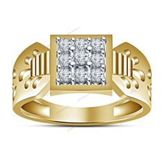 0.85 Ct. Round Cut  Diamond Yellow Gold Over Men's Fashion Nine Stone Band Ring #giftjewelry22 #NineStoneMensRing