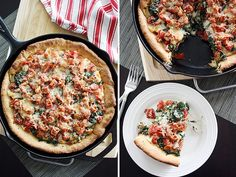 I was just thinking of deep dish pizza yesterday.  Mmmmmm spinach + tomato pizza.