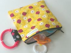 Pacifier Pouch Reusable Snack Bag Little Lady Bug.