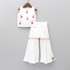 Pre Order: White Mirror Work Top And Sharara Source by Blouses Frocks For Girls, Dresses Kids Girl, Kids Outfits Girls, Baby Girl Dress Design, Simple Pakistani Dresses, Kids Frocks Design, Mother Daughter Fashion, Frock Design, Blouse Neck Designs