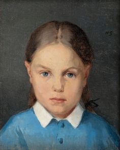 Flicka med flätor, Girl with braids by Helene Schjerfbeck Helene Schjerfbeck, Prinz Eugen, Miss Moss, Feminine Mystique, Nordic Art, Z Arts, Art Archive, Interesting Faces, Magazine Art