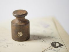 Vintage scale weight Soviet brown rust paper weight  by SovietEra, $9.00