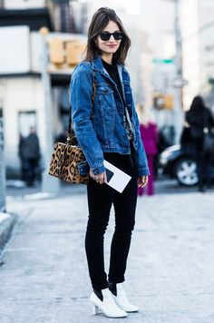 Easy Outfit Ideas for When You Hate Everything You Own - A Denim Jacket, Black Jeans, and Booties