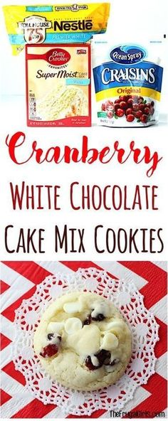 Cranberry White Chocolate Cake Mix Cookies Recipe from these festive little cookies are so easy to make and perfect for your Holiday Parties and Christmas Cookie Exchan. Cookies Fondant, Cookies Cupcake, Chocolate Cake Mix Cookies, White Chocolate Cake, Xmas Cookies, White Cake Mix Cookies, Easy To Make Christmas Cookies, Chocolate Chips, Chocolate Cherry