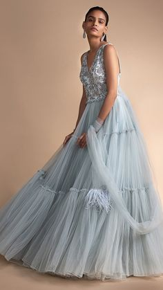 Aditi Bhatia in Kalki Powder Blue Gown In Net With Embellished Bodice And Tiered Bottom Powder Blue Gown, Indowestern Gowns, Aditi Bhatia, Gown Party Wear, Net Gowns, Skyfall, V Cuts, Fall Collections, Indian Fashion