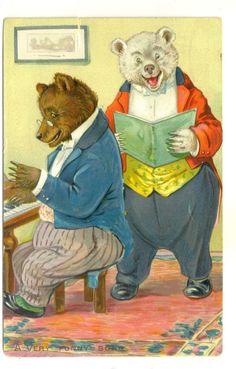 "Embossed Postcard Teddy Bears Raphael Tuck ""A Very Funny Song"" P M 1908 | eBay"
