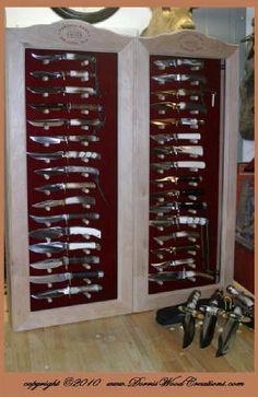 Knife Display Case, Hidden Gun Cabinets, Knife Storage, Gun Rooms, Buy Edibles Online, Case Knives, Custom Knives, Knives And Swords, Knife Making