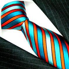 84428 US Cana Italian Silk Ties Cyan Orange Blue Green   eBay