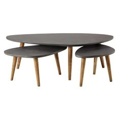 3 houten bijzettafels, grijs, lengte 50-120 cm