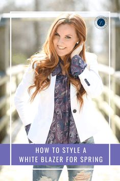 How to Style a White Blazer for Spring - one of my favorite colors to wear - especially amazing in the warm weather. New Fashion, Spring Fashion, Plus Fashion, Fashion Tips, Fashion Trends, Floral Blouse, Floral Tops, Fashion Watches, Casual Looks