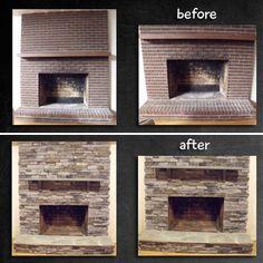 Fireplace Remodel - stone veneer over brick