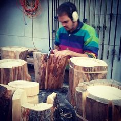 Feeling 'Stumped' for time with my exhibition #fromtheside opening April 175.30pm, making lots of Stumps and other things in the workshop.. #precision #woodworking with the #Hatchet for best results #happyjumper #lighting #design #bespoke #log4lyf (at duncanmeerding.com.au)