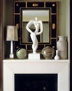 Deco Mirror & Sculpture / other objects de art...celebrate the fireplace & the space...Jean Louis Deniot