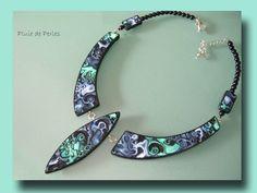 polymer clay jewelry | polymer clay jewelry | Polymer Clay mokume gane necklace by http://pluiedeperles.canalblog.com/