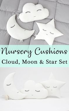 This set of nursery cushions is so adorable! Cloud, star and moon pillows are so sweet in a baby nursery and kids rooms. It's also a great idea for baby shower gift or christening gift! Perfectly gender neutral.