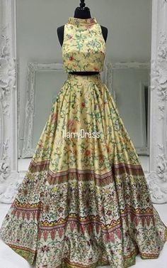 50783 Two Piece Printed Floral Satin A Line Yellow Long Prom Dress