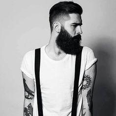 Chris John Millington/ skinny jeans / suspenders / & a beard I Love Beards, Great Beards, Chris Millington, Bart Tattoo, Tattoo Art, Hipster Noir, Chris John, Mens Modern Hairstyles, Beard Fade