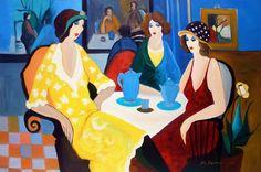 Afternoon Chat by Itzchak Tarkay, fantastic artist