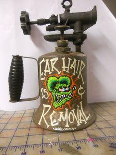 "Hand painted Garage Art ""Ear wax removal 25 centsl"" torch, Biker, pinstriping"