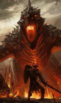 Dragon and warrior, fantasy Dark Fantasy Art, Fantasy Kunst, Fantasy Artwork, Fantasy World, Fantasy Hair, Fantasy Monster, Monster Art, Fantasy Creatures, Mythical Creatures