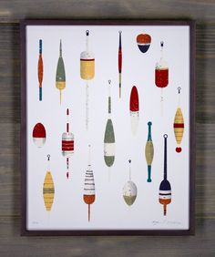 "Arsenal Handicraft ""Grandpa's Bobbers"" - 4 color screen print pulled by hand  Hand mixed yellow, red, green, and dark grey inks  French recycled white paper made locally at a hydropowered mill  Measures 11x14"" (standard frame size)  Limited edition of 170  Shipped unframed, rolled in a sturdy tube  Signed and numbered by the artists  Designed and printed in the U.S.A."