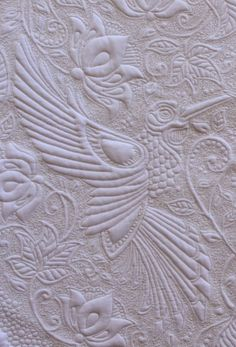 closeup, My Secret Garden Quilt by Karen at Quilts on Bastings.  Inspired by Joanna Basford's drawings.