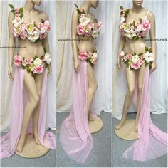 Two piece petal pink rose fairy gown with train costume cosplay dance rave bra halloween burlesque show girl