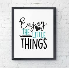 Enjoy the Little Things Teal Blue Pop Of Color Simple Black and White Farmhouse Country Cottage Chic Digital Print INSTANT DOWNLOAD by InspireYourArt on Etsy
