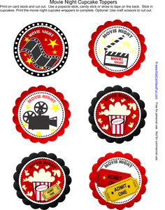 Free Movie Night Party Cupcake Toppers -- Just add the cupcakes http://www.kidscanhavefun.com/party-planning.htm #party #Cupcake #partyideas