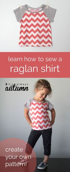 learn how to draft a pattern for a raglan shirt, then how to sew it up - it's easy! make new t-shirts in any size with this simple tutorial.