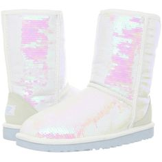 UGG Sparkles I Do! Women's Pull-on Boots, White ($153) ❤ liked on Polyvore featuring shoes, boots, ankle boots, white, fur boots, sparkle boots, pull on ankle boots and white short boots