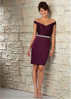 Chic Satin Off-the-shoulder Neckline Knee-length Sheath Bridesmaid Dress