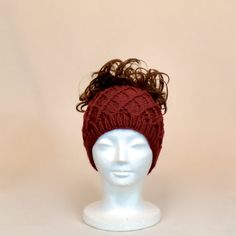 Red Ponytail Hat Knit Beanie with a Hole by AllThingsTangled
