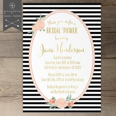 Black White Gold Bridal Shower, Baby Shower or wedding Invitations  / Stripes and polka dots and flowers / pink coral peach