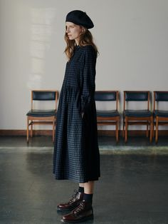 Women's cotton culottes, easy pleated trousers, slubby cotton tees, printed dresses and linen dresses with pinafore style straps. Cotton Shirt Dress, Wool Dress, Long Dress Fashion, Fashion Outfits, Fashion Shirts, Fashion Fashion, Street Fashion, Fall Fashion Trends, Autumn Fashion