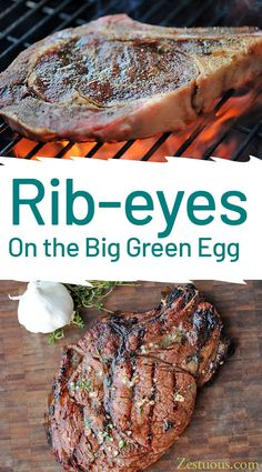 How to grill the perfect rib-eye steak on a Big Green Egg, including grill settings, recipe and the trick to cooking it to your favorite wellness. Big Green Egg Grill, Green Egg Ribs, Green Eggs, Grilled Steak Recipes, Grilling Recipes, Cooking Recipes, Vegetarian Grilling, Tuna Recipes, Grilling Tips
